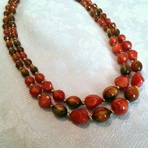 Vintage Multi Strand Graduated Beaded Necklace